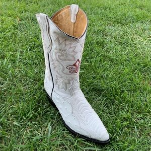 Mens Ostrich Leg Print Leather Boots Bone Color